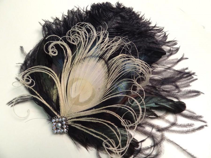 Hochzeit - White Peacock, Black Feather Fascinator, Swarovski Crystals, Unique Bridal, Hair Accessory, Bridesmaid Head Piece, Batcakes Couture