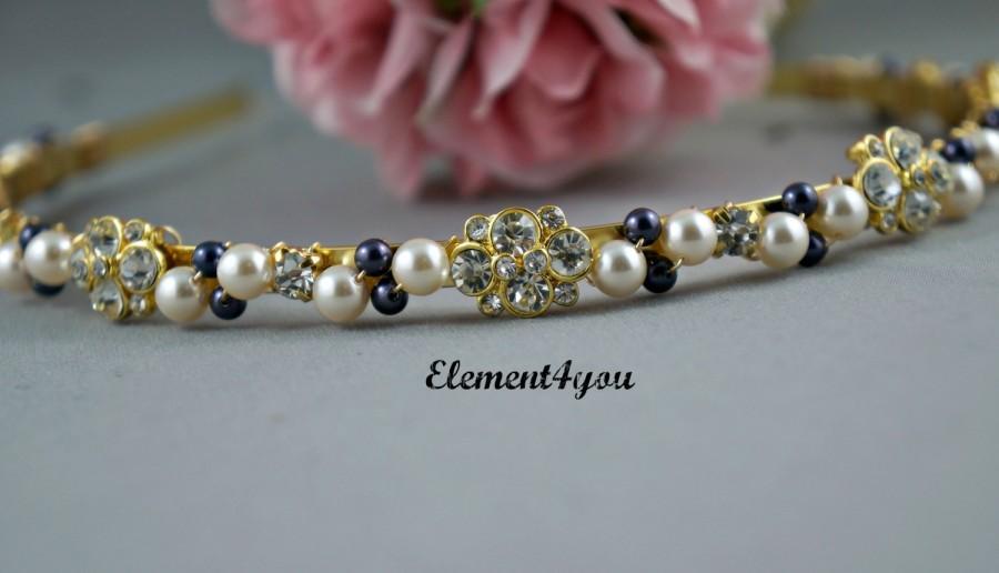 Hochzeit - Bridal Headband, Gold Pearl Tiara, Vintage rhinestone hair piece, Swarovski ivory gold pearls, Wedding Head band, Pink or blue headband