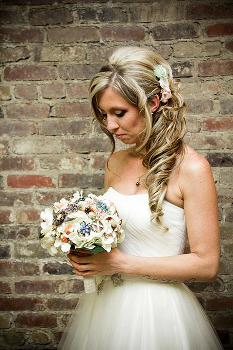 Wedding - Brooch Bouquet vintage burlap and lace rustic wedding