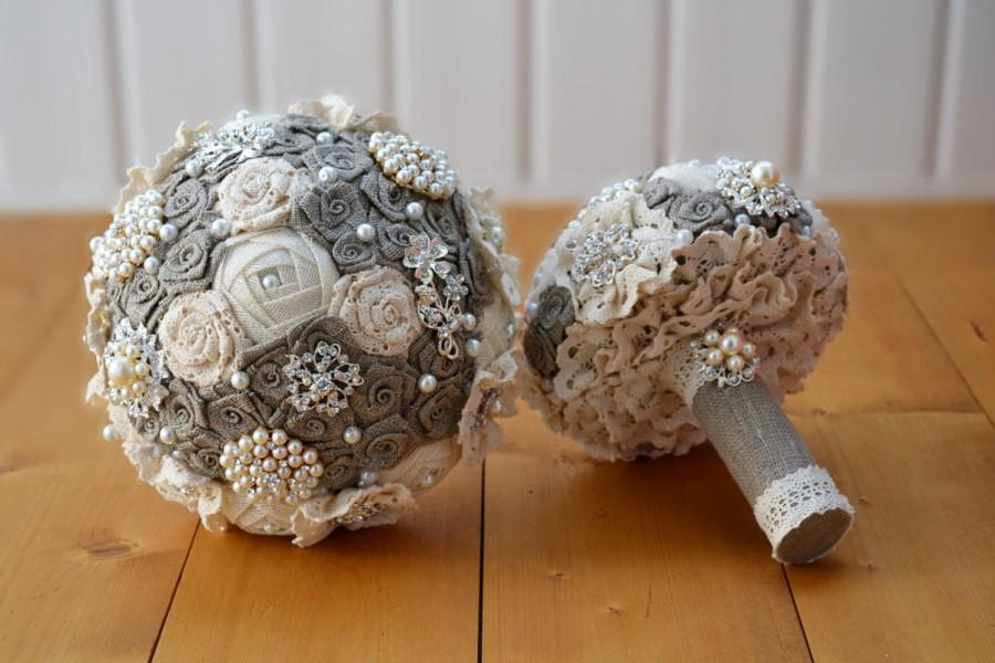 Rusic Burlap And Lace Wedding Bouquet Rustic Natural Fabric White Ivory Pearl Brooch