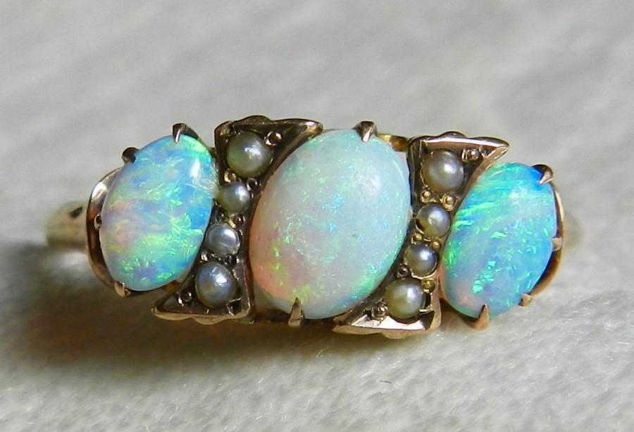 opal ring 14k opal engagement ring 1800s rose gold antique semi black opal seed pearl ring victorian ring three stone october birthday - Black Opal Wedding Rings