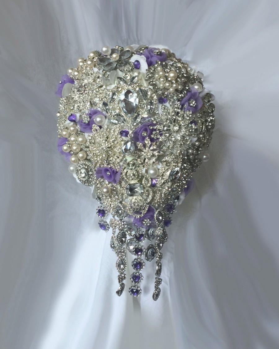 Mariage - Lavender & Purple Cascading Brooch Bouquet - Emma - Wedding Bouquet - Bridal Bouquet - Deposit - Full Price 425.00