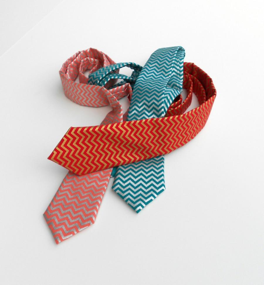 Wedding - 3 Days ONLY Chevron Necktie - Metallic - Red, Teal, or Coral - Skinny or Standard - Men, Teen, Youth                            2 weeks befo