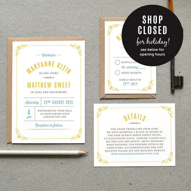 Hochzeit - Printable Wedding Invitation PDF / 'Vintage Apothecary' Belle Epoque Invite / Yellow Grey Blue / Digital File Only / Printing Also Available