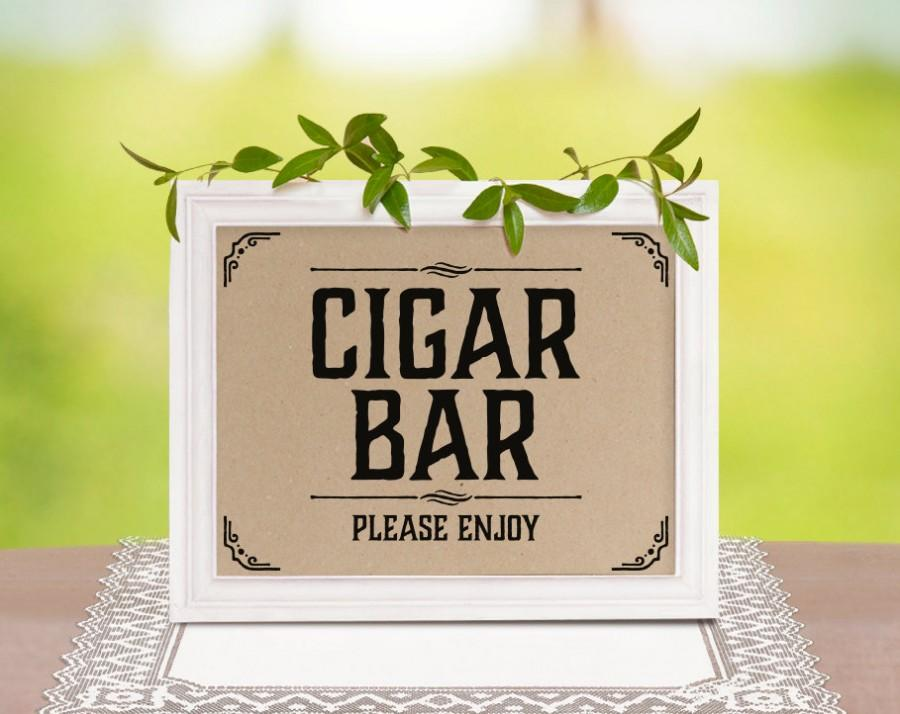 Hochzeit - Cigar bar wedding sign. Rustic wedding decor. Cigar bar decor. Wedding shower decorations. Rustic, country themed party supplies.