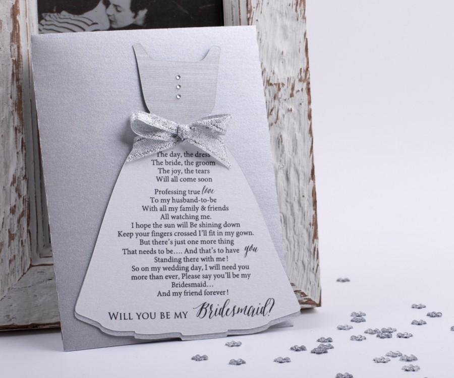 Hochzeit - Bridesmaid Card Will you be my Bridesmaid Card Wedding Card in Silver Asking Bridesmaid Sold in Sets with metallic Envelope