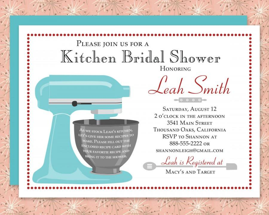 Mariage - Custom Kitchen Bridal Shower Invitation & Recipe Card Digital Download/Printable with Stand Mixer Red, Blue, Aqua, Purple and more!