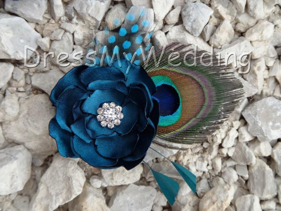 "Свадьба - Bridesmaids peacock feather hair clip ""Mary"", customizable"