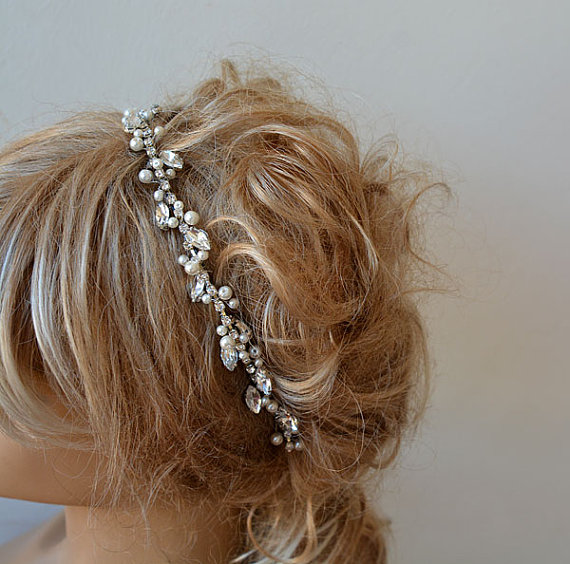 Mariage - Marriage Bridal Headband, Rhinestone and Pearl Tiara, Wedding Crown, Bridal Hair Accessory, Wedding hair Accessory