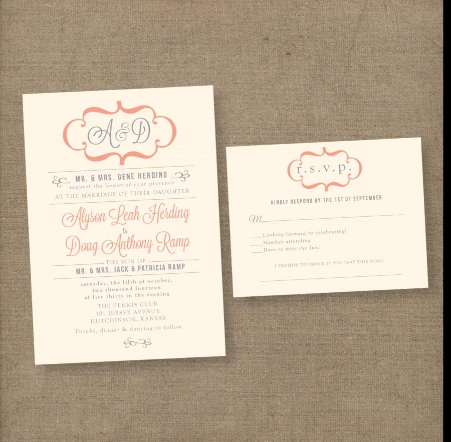 Modern Vintage Wedding Invitations, Unique Wedding Invites, Formal ...