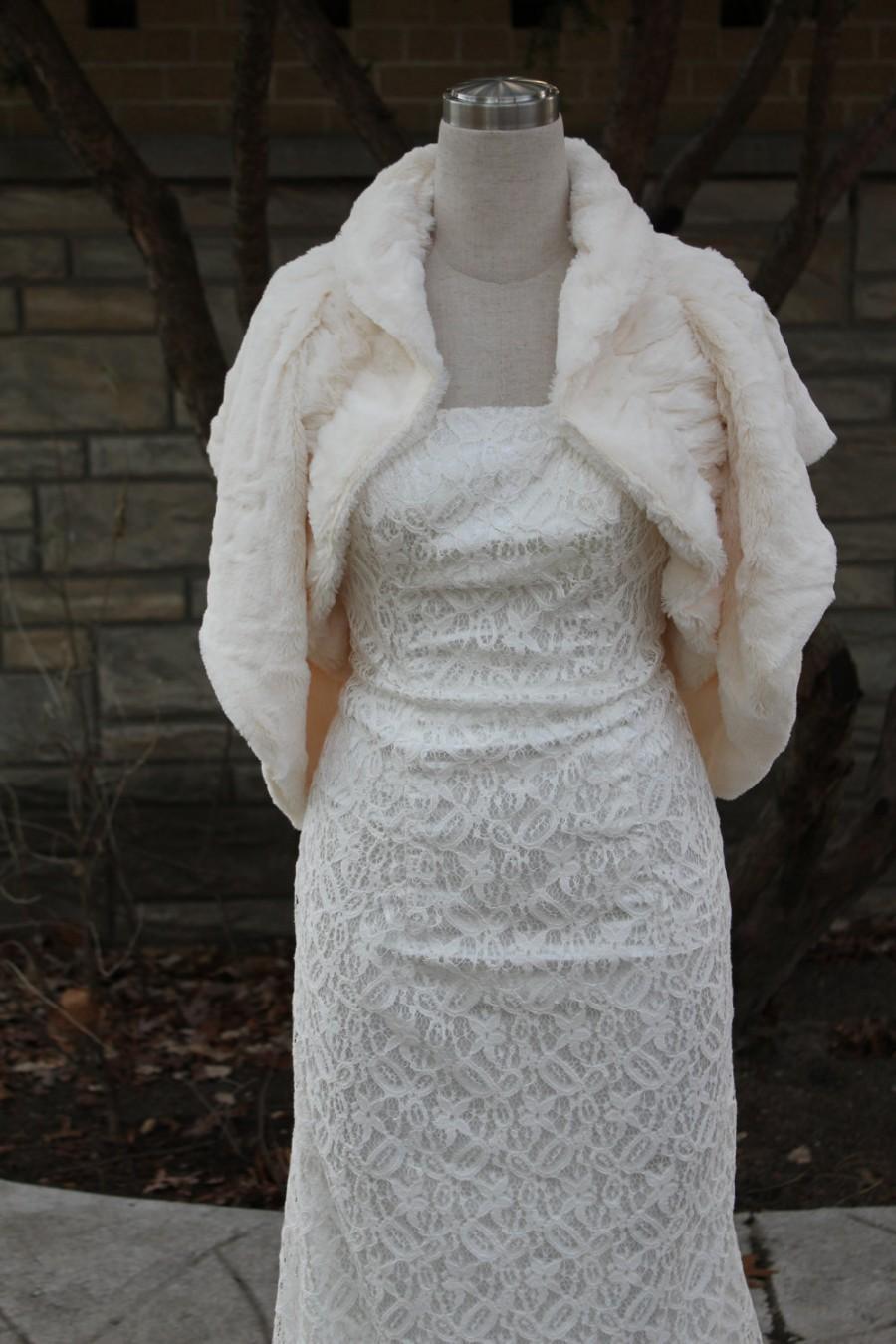 Mariage - faux fur shrug bolero Wrap,wedding bolero, bridal wrap