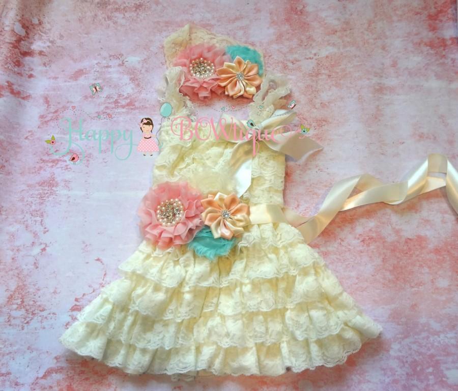 Hochzeit - Ivory Blush Pink Aqua lace dress set, Flower girls dress,Ivory  Dress, baptism dress,girls dress, Birthday dress,fall dress,baby dress,blush