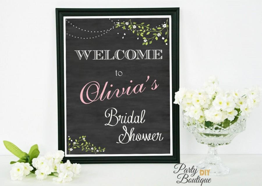 bridal shower sign chalkboard welcome sign bridal shower decoration printable file with name personalized olivia collection
