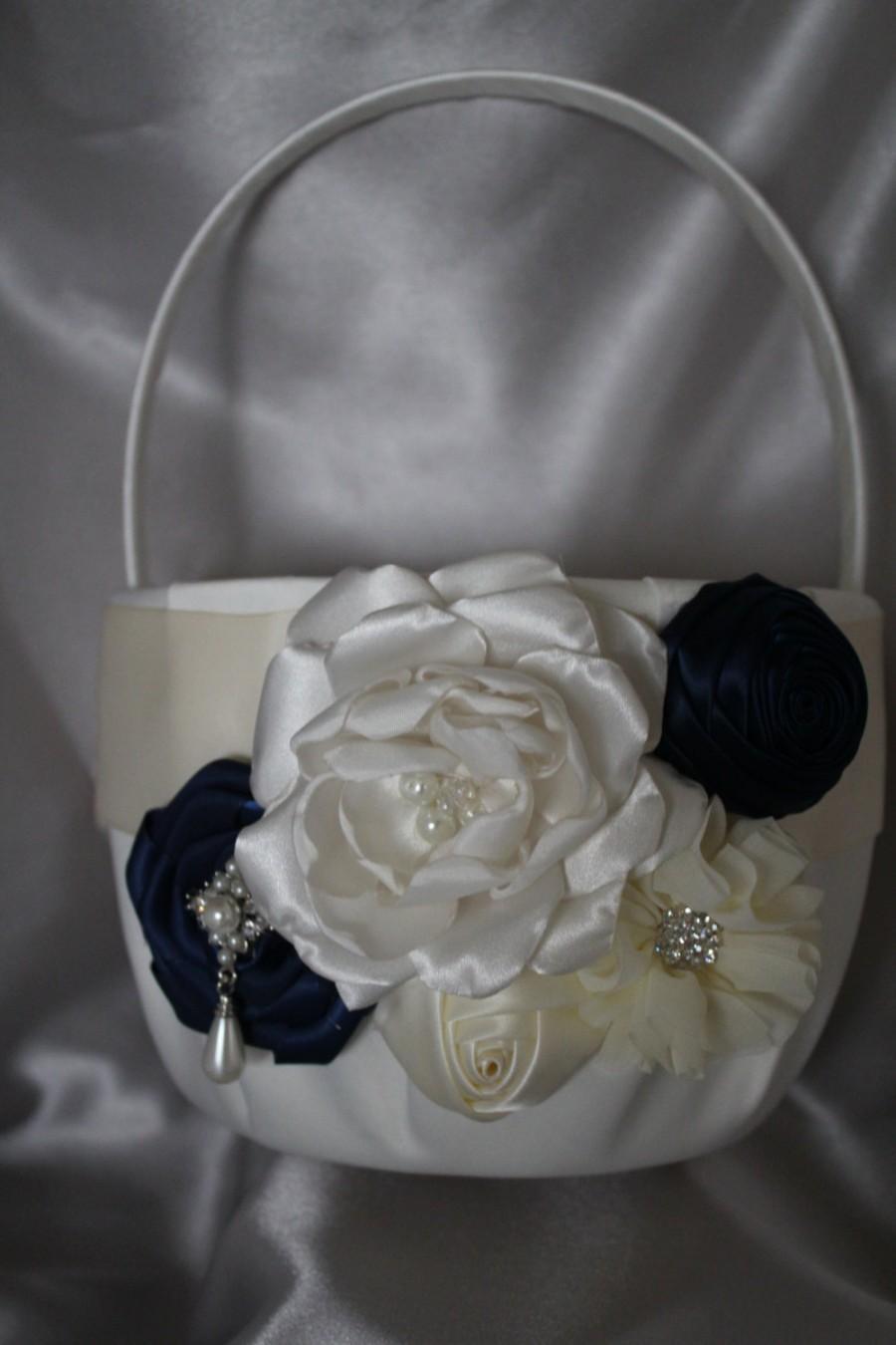 Свадьба - Large-White or Ivory Flower Girl Basket-NAVY-Custom Colors-Flower Girls Age 8+