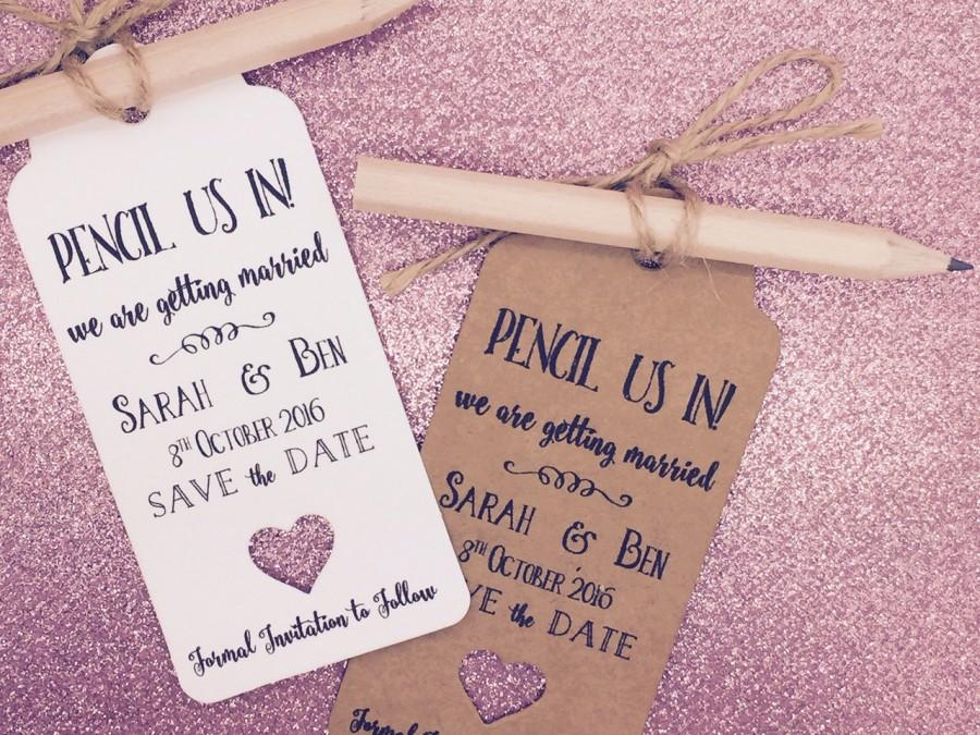 """Mariage - Personalised """"Pencil us in"""" Save The Date / Evening Card / Tags Wedding Invitation with Pencil & Envelope"""