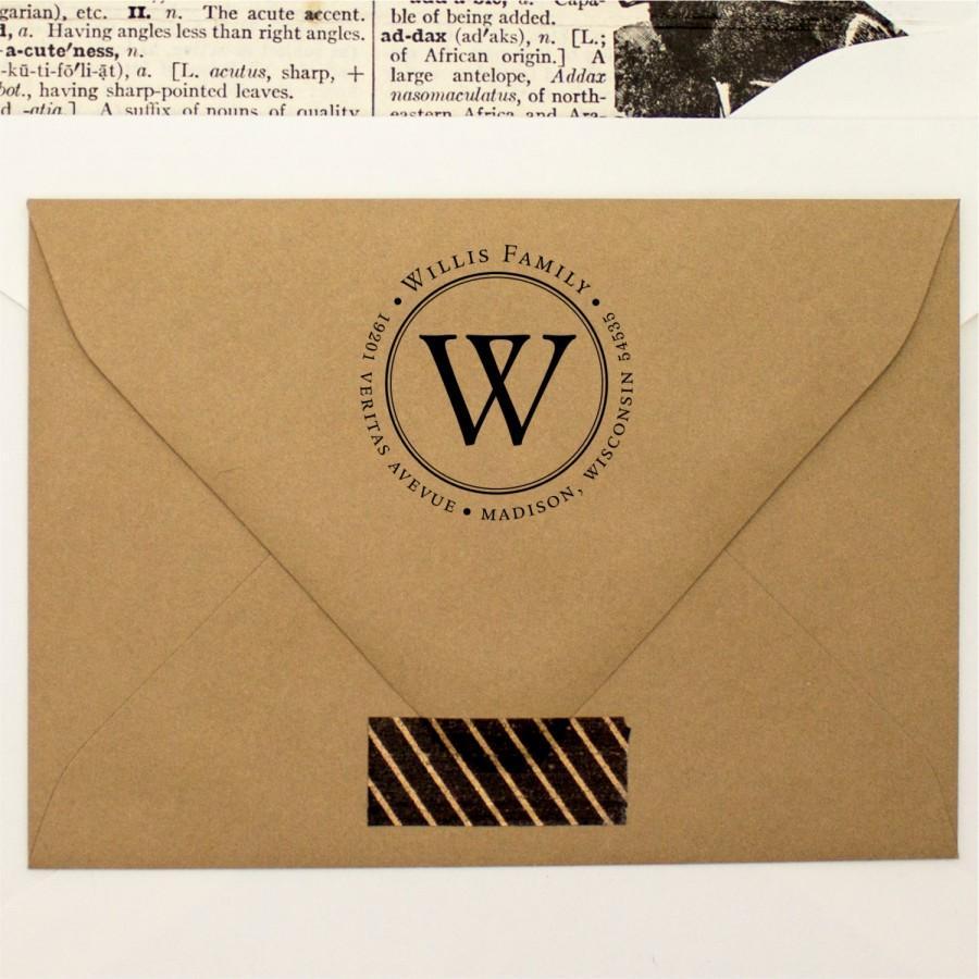زفاف - Classical Round Custom Monogram Stamp - Self Inking Return Address Personalized Stamper