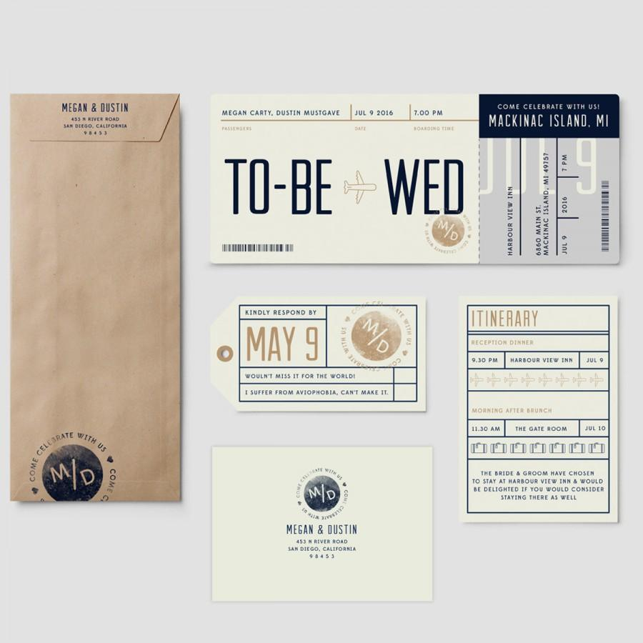 Boarding Pass Destination Wedding Invitation Suite To Be Wed