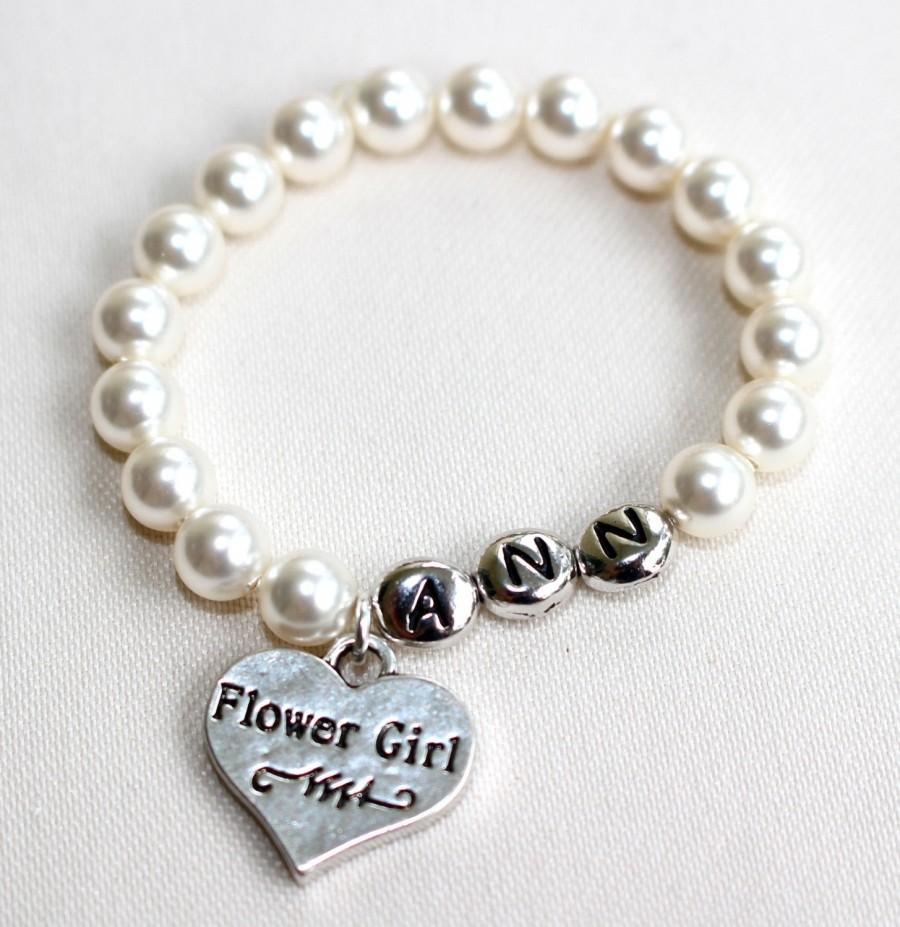 Personalized Flower Girl Pearl Bracelet, Flower Girl, Jewelry ...