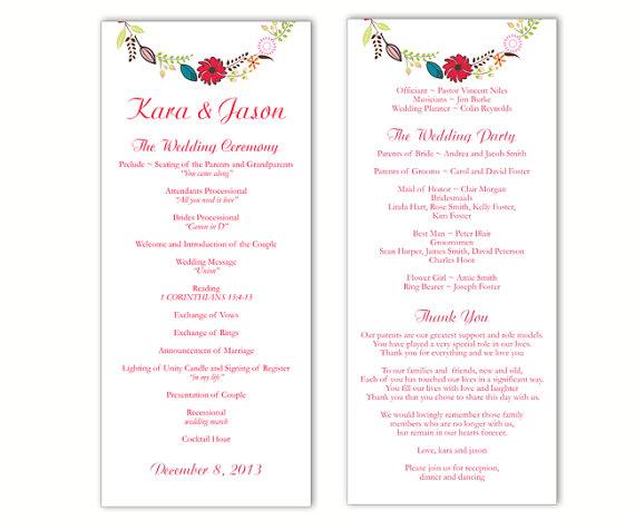 Свадьба - Wedding Program Template DIY Editable Word File Instant Download Program Colorful Wedding Program Wreath Floral Program Printable Program