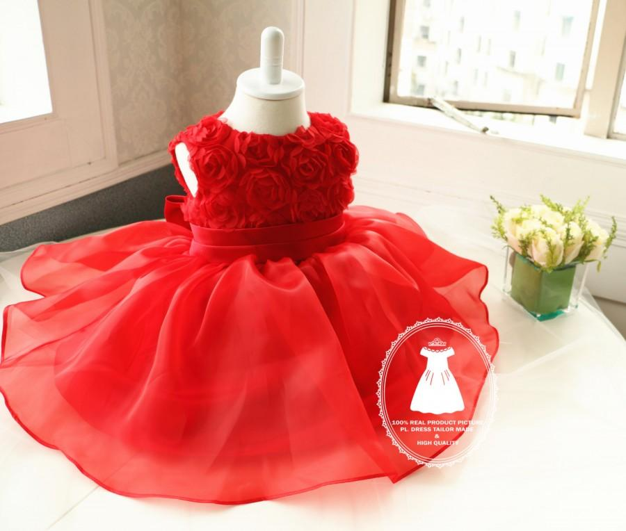 newborn girl dress hot red toddler christmas dressbirthday dress 2 year old baby girl dress for birthday party pd019 3
