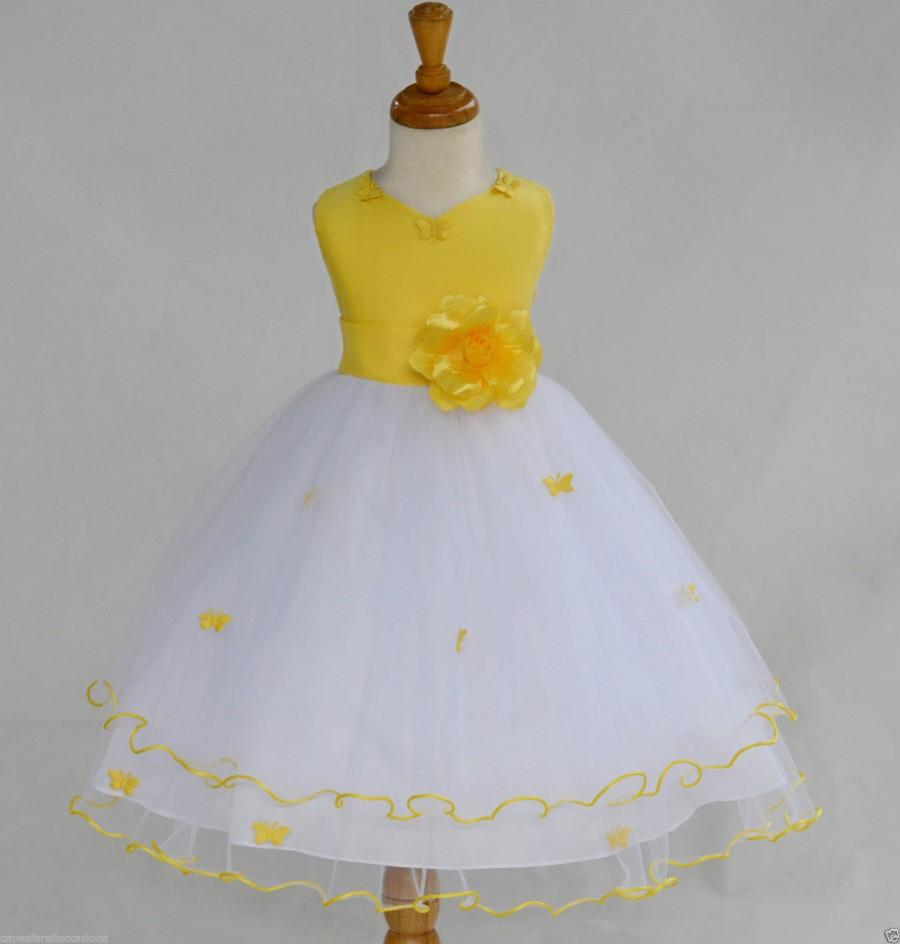 White Subeam Yellow Flower Girl Butterfy Tulle Dress Tie Sash