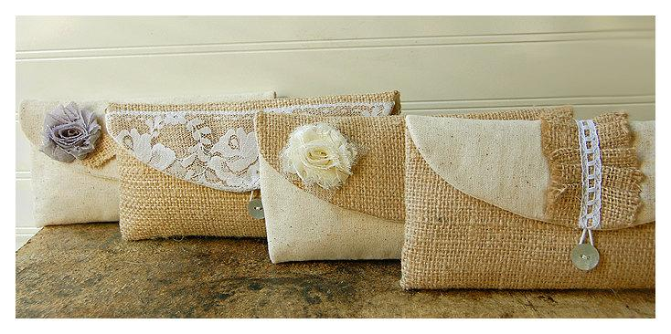 Mariage - burlap bag lace wedding clutch set 7 rustic cotton linen rose flower choice purse Personalize Bridesmaid party etsy gift MakeUp