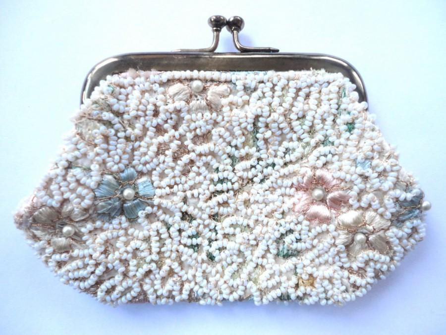 Mariage - Petite Clutch Bag, Beaded Change Purse, Small Vintage Purse, Wedding Perfect, Something Blue, Purse Collectors, Small Beaded Purse