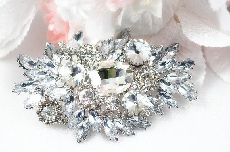 Wedding - SALE Crystal wedding bridal brooch , head piece
