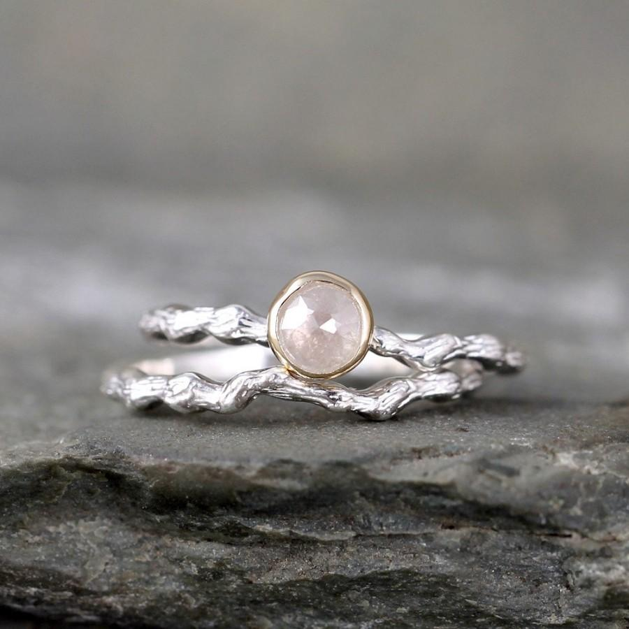 twig engagement ring with rose cut diamond sterling