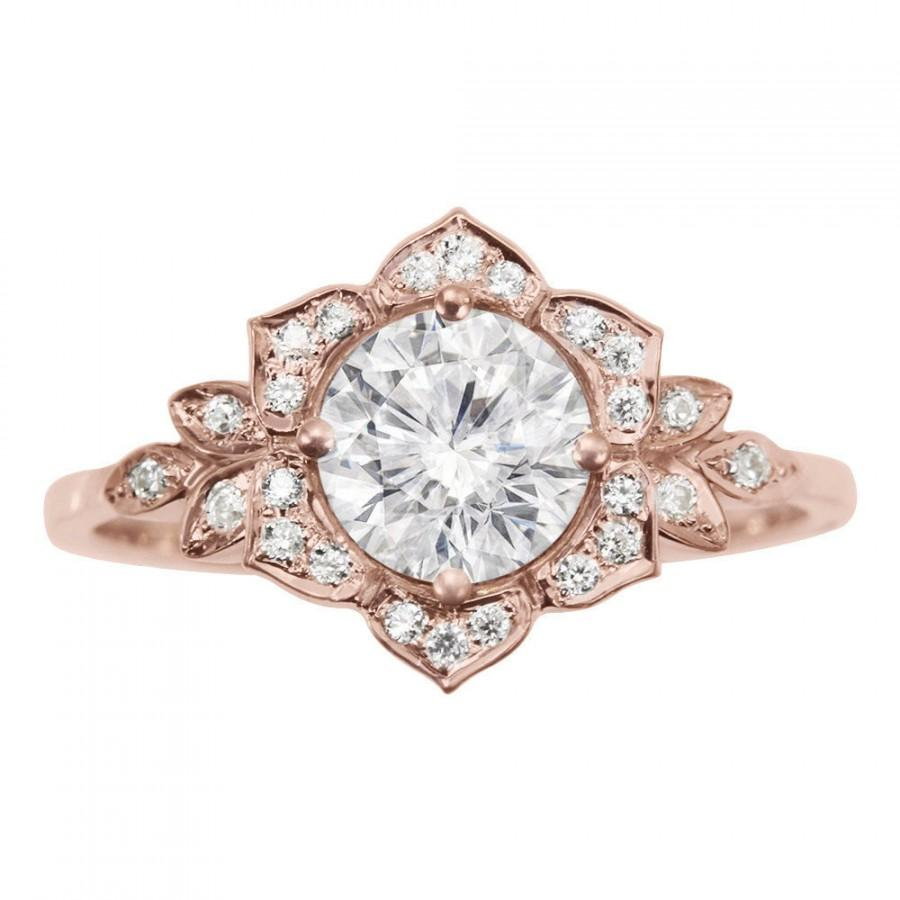 Delicate Lily Ring, Art Deco Flower Ring, Rose Gold Engagement Ring, Vintage  Rings, 0.45 CT Diamond Ring, Unique Leaf Ring
