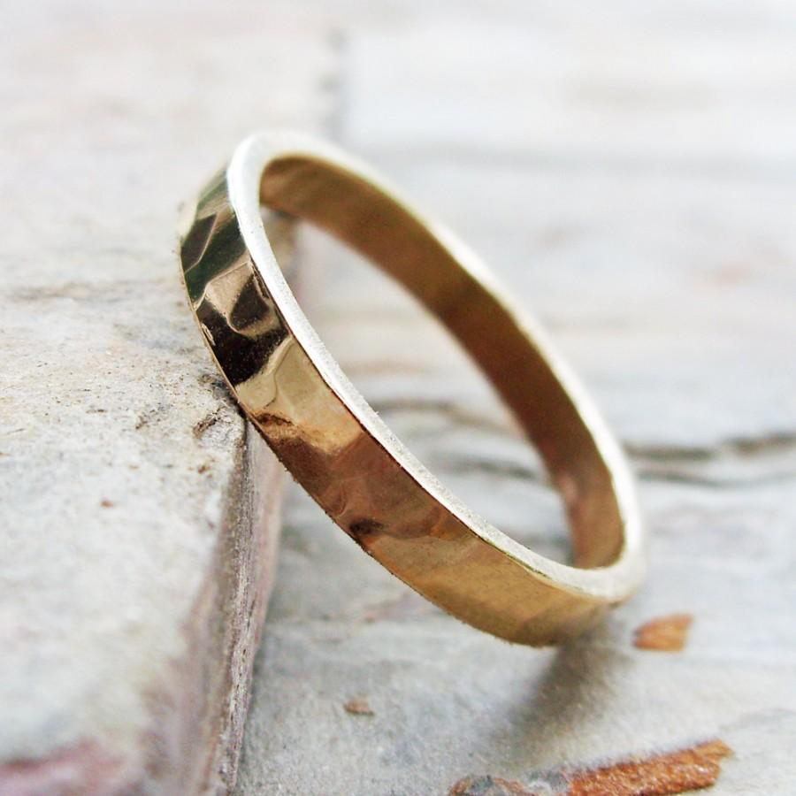 Свадьба - 3mm Men's or Women's Rustic Hammered Gold Ring - Thick Wedding Band in Solid 14k Yellow or Rose Gold - Flat Rectangular Matte or High Polish