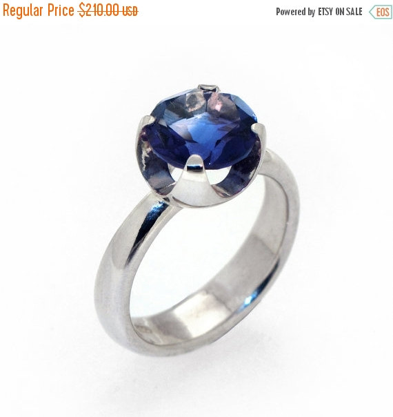 Hochzeit - Christmas SALE - CUP Silver Engagement Ring, Solitaire Silver Gemstone Ring, Sapphire Engagement Ring, Large Gemstone Ring, Statement Ring