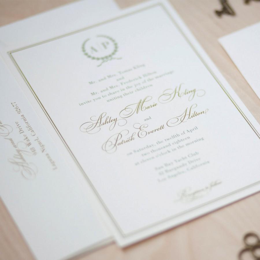 monogram wedding invitation sage and gold invitation olive branch