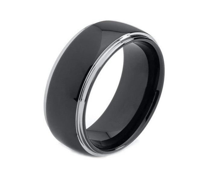 8mm Mens Engagement Rings Wedding Band Tungsten Dome Silver Tone Stepped Edges Black Ring Promise For Men