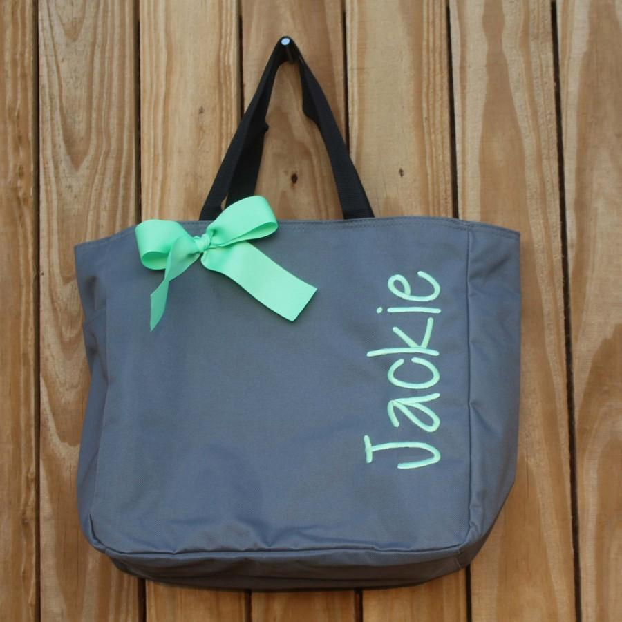 Mariage - 6 Personalized Bridesmaid Gift Tote Bags, Embroidered Tote, Monogrammed Tote, Bridal Party Gift