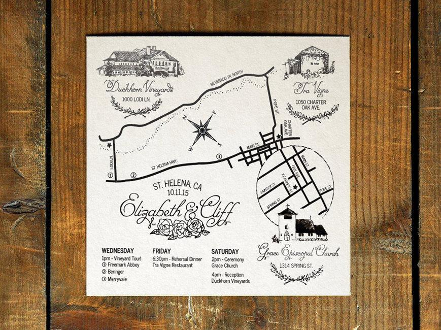Wedding - Custom Wedding Map with Hand-Drawn Illustrations - Printable Digital File