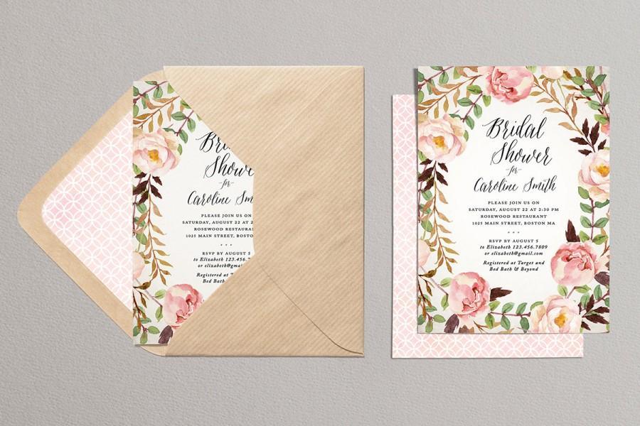 Hochzeit - Printable Bridal Shower Invitation - Rustic Bridal Shower Invitation - Floral Bridal Shower Invitation - Roses