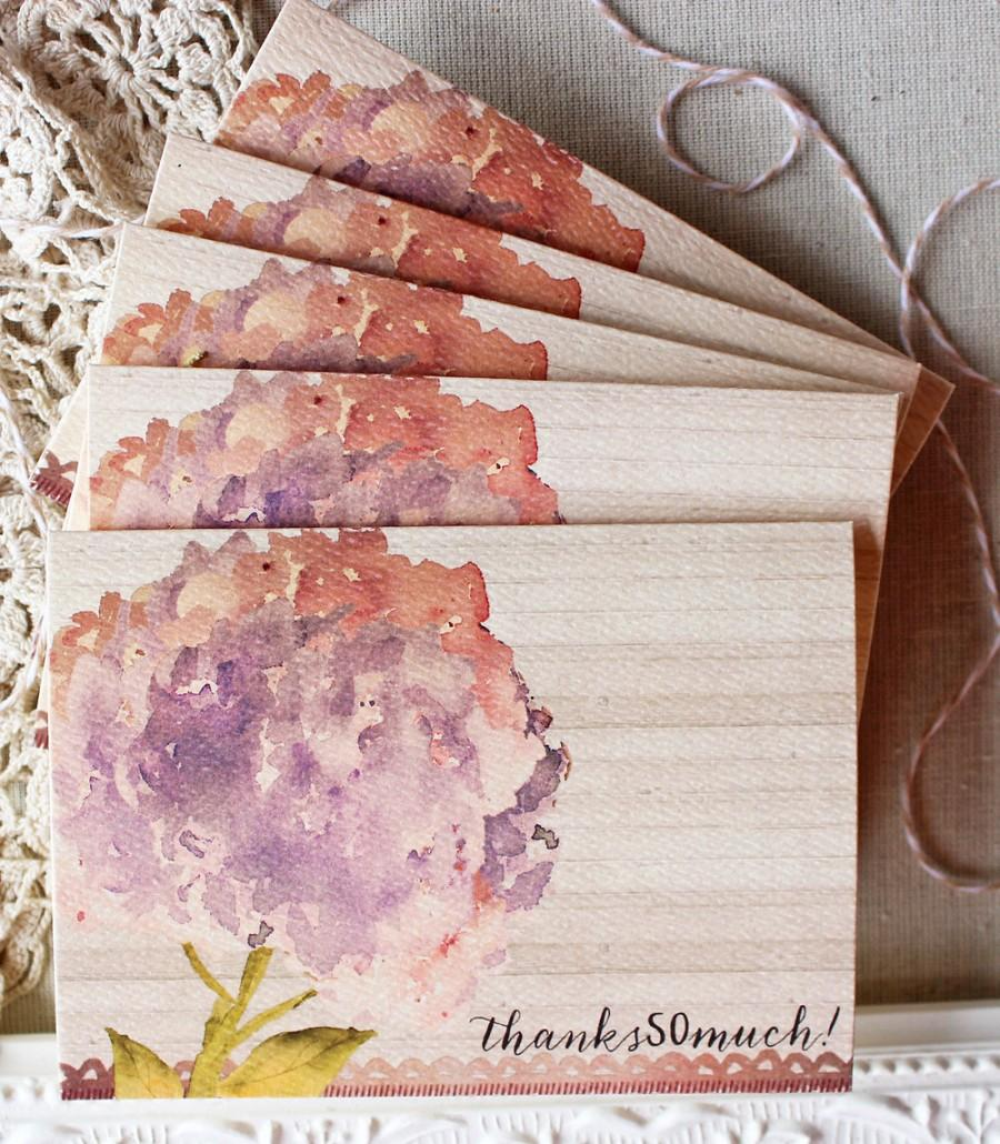 Hochzeit - Floral Watercolor Hydrangea Thank You Notes set of 20