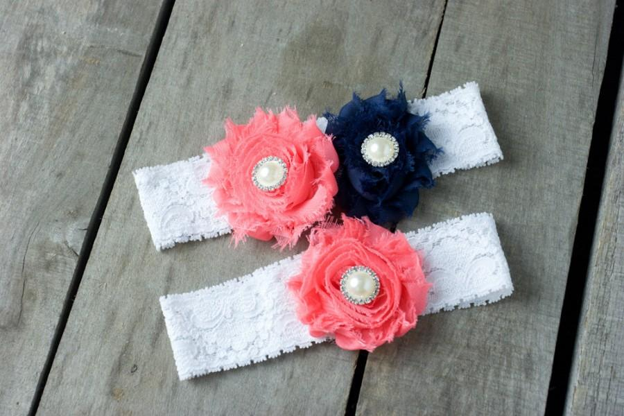Hochzeit - Coral and Navy Wedding Garter Set, Bridal Garter, Wedding Garter, Shabby Chic Garter, Satin Garter