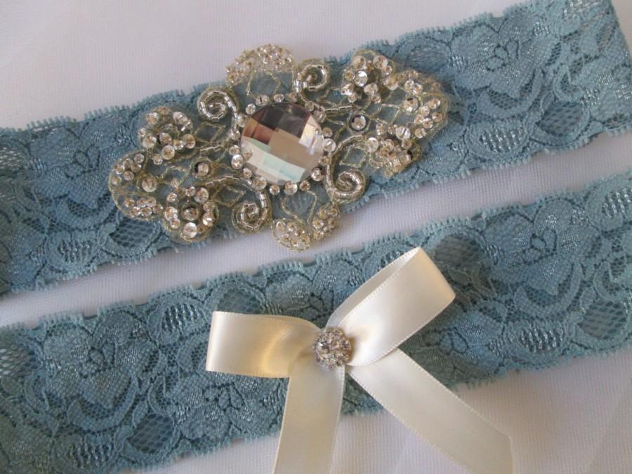 Powder Blue Wedding Garter Set Dusty Garters Antique Lace Bridal Something Bling Rustic Vintage
