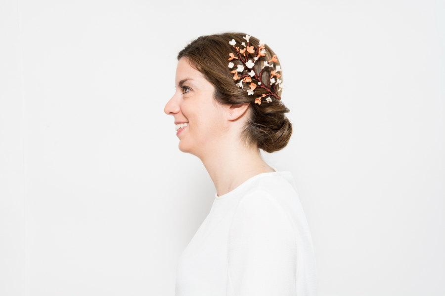 Свадьба - Glenna - Branch hair comb made with clay and silk thread