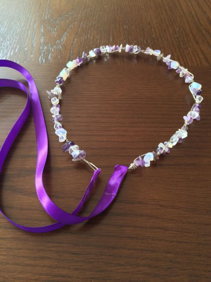 Wedding - Bohemian Wedding Crown- Crystal Crown- Amethyst Crown- Crystal Tiara- Rainbow Crown- Festival Headpiece- Renaissance Crown