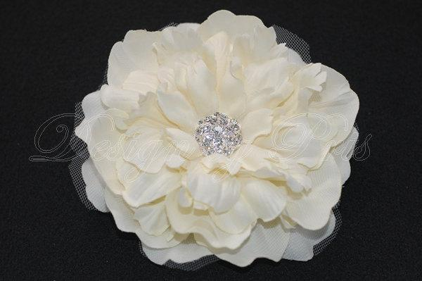 Hochzeit - BL3-I - Bridal Ivory Peony Hair Flower with Rhinestone Center  - Bride.Bridesmaid.Hairpiece (L)