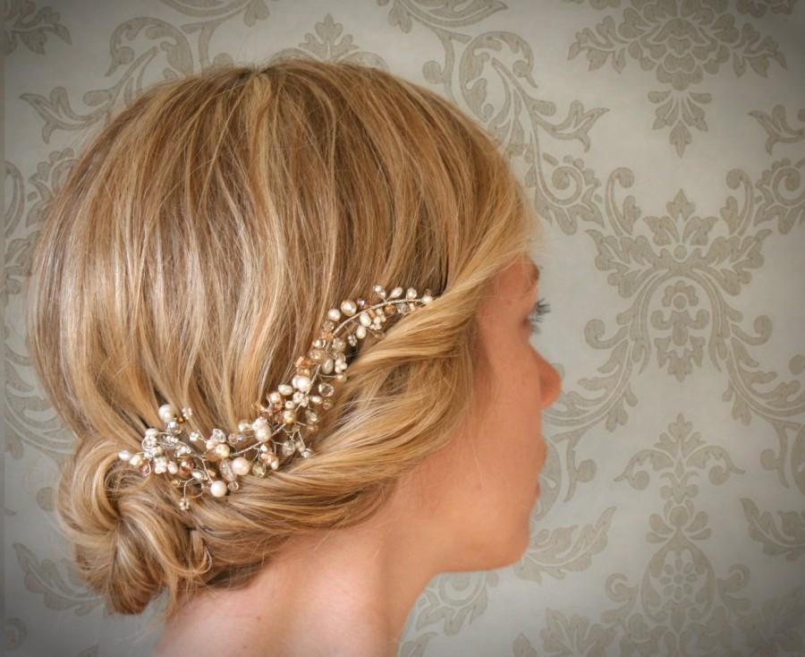 Свадьба - Mini Silver Crystal and Pearl Hair Vine. Bridal Hair Vine Accessory. Wedding Hair Adornment. Veil Alternative. Style No.102