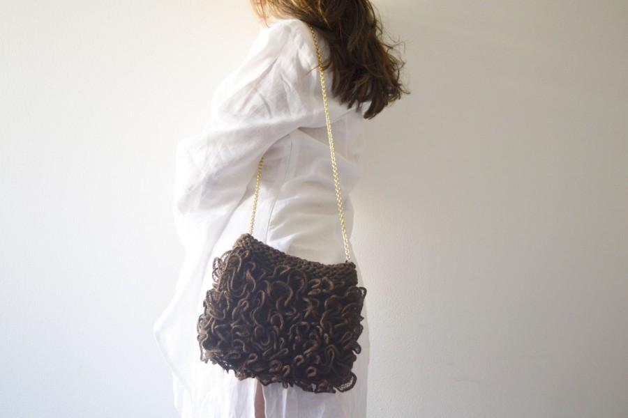 Свадьба - Brown bag, Bridesmaids's Gift, coffee Purse handknit RosaLu'