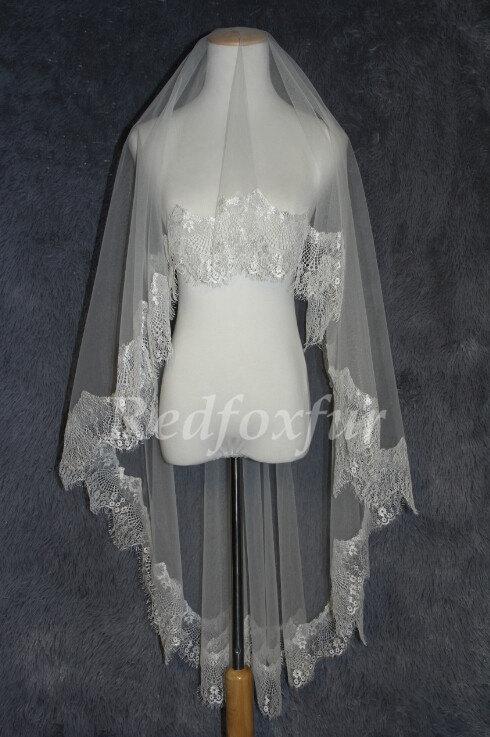 Свадьба - Soft lace bridal veil beautiful flower Alencon lace veil veil veil ivory white bridal veil wedding supplies accessories