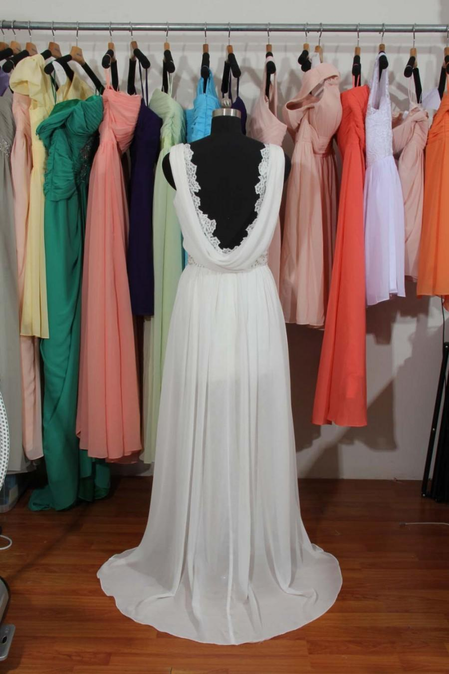 Wedding - V-neck Lace Chiffon Wedding Dress With Slit, Backless Elegant Ivory Custom Made Bridal Wedding Dress, Beading Wedding Dress