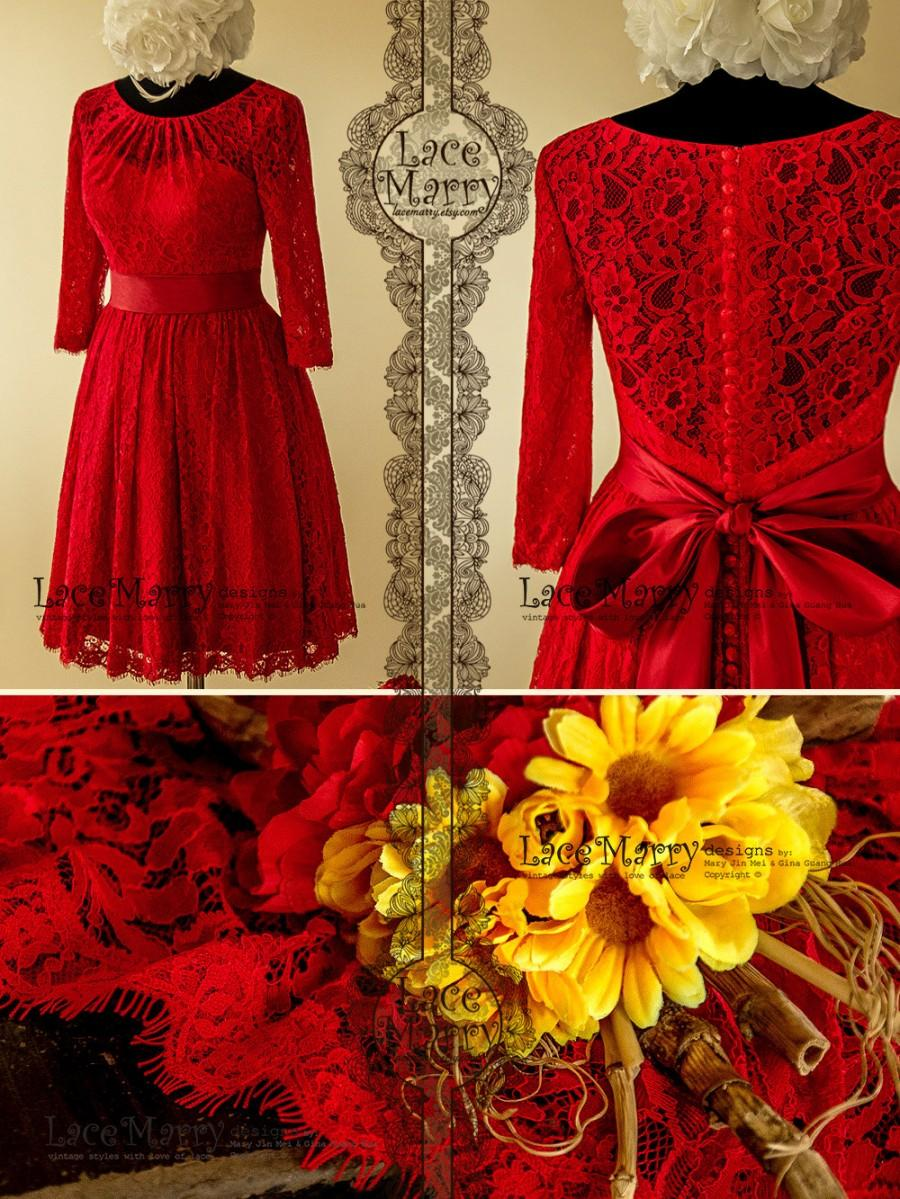 Wedding - Excellent Knee Length Red Lace Wedding Dress with Folded Neckline and Elbow Length Sleeves featuring Long Taffeta Sash and Satin Buttons