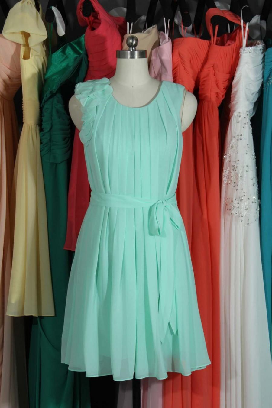 Wedding - Party Dress 2015, Mint Chiffon Prom Dress, Mint Bridesmaid Dress