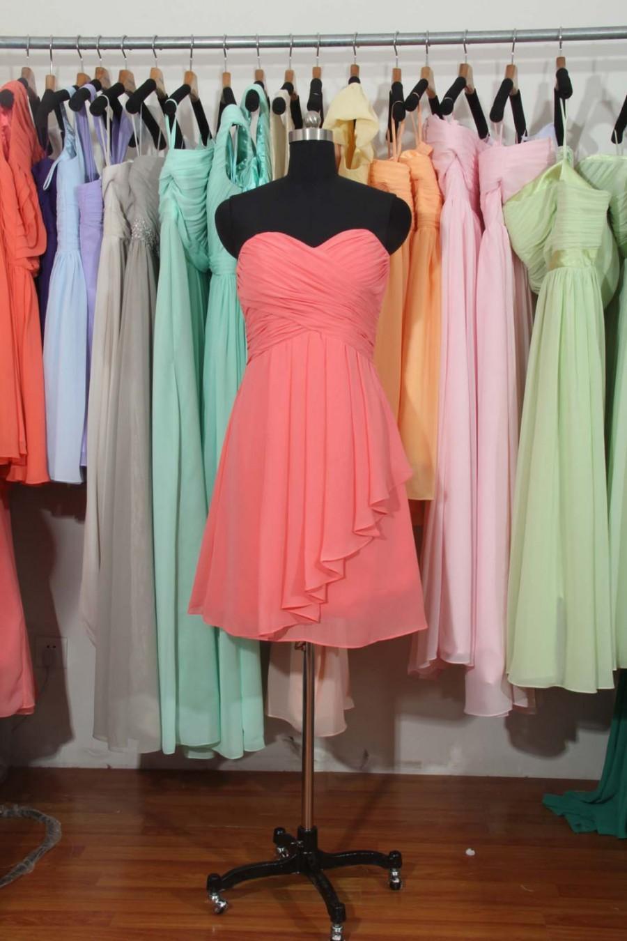 Wedding - Coral Bridesmaid Dress, A-line Sweetheart Short Chiffon Bridesmaid Dress